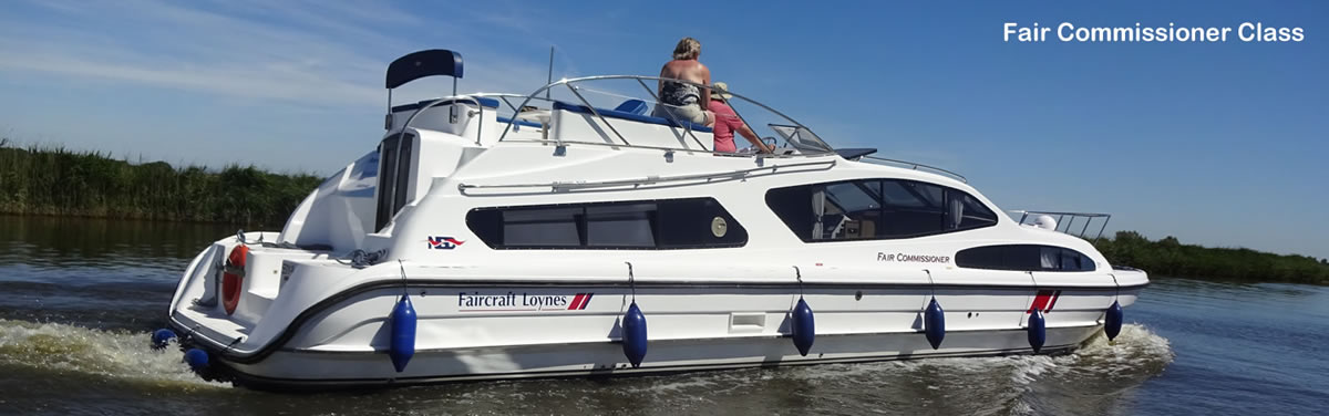 Luxury cruiser on the Norfolk Broads